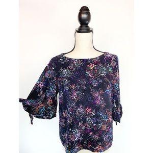 H&M Viscose Rayon Tie Cold Shoulder Floral Top - 8